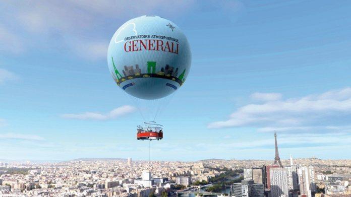 Volo di una mongolfiera su Parigi