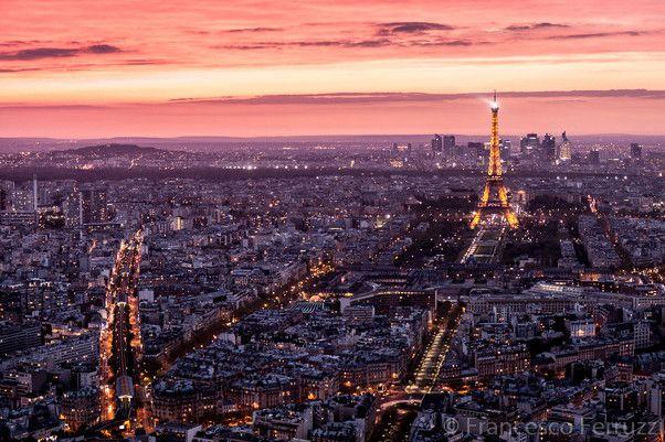 Parigi dall'alto al tramonto