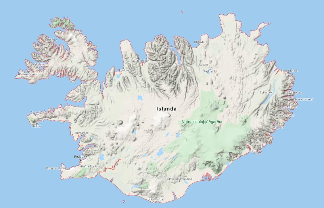 Mappa topografica dell'Islanda